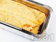 Рецепта Солени палачинки суфле пълнени с рулца от раци и кашкавал